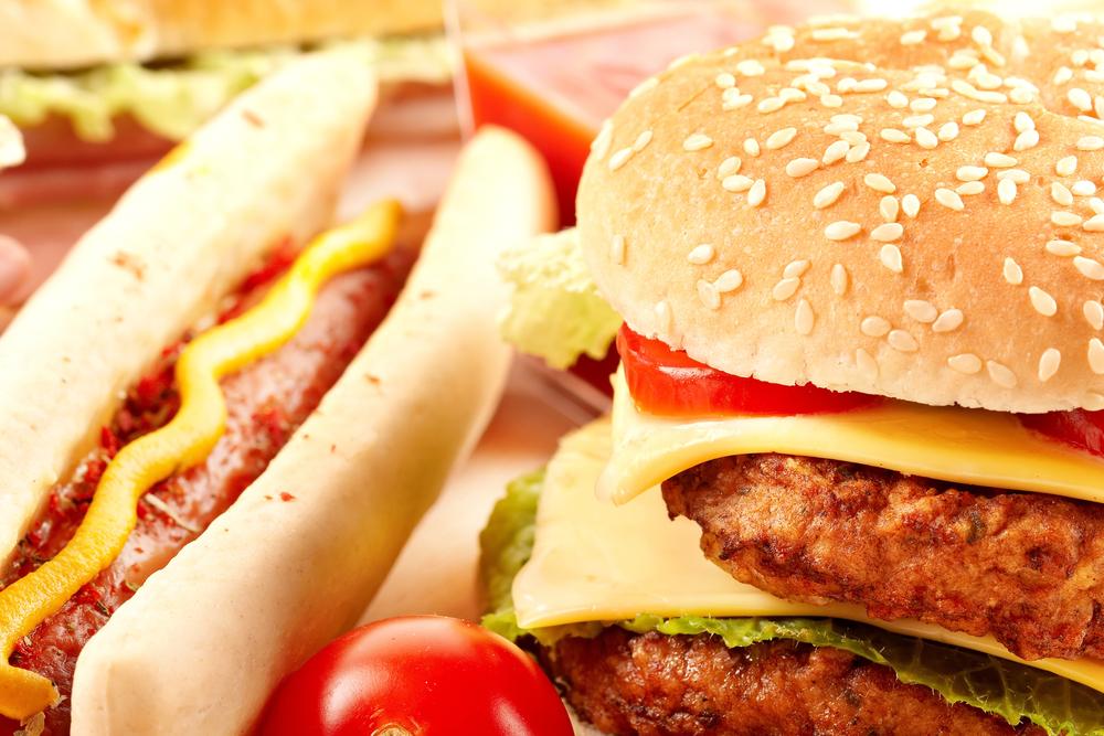 Cheeseburger and hot dog